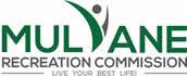 Logo and Link: Mulvane in green with V stylized and dotted to represent a person; next line, Recreation Commission in gray; next line, Live your best life in gray.