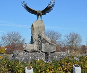 Eagle statue on rock