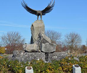 Eagle statue on rock